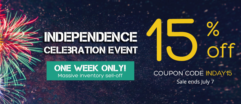 Independence Celebration Event - 15% off Storewide - Use coupon code INDAY15 - Sale ends July 7, 2020