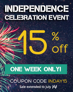 Independence Celebration Event - 15% off Storewide - Use coupon code INDAY15 - Sale ends July 14, 2020