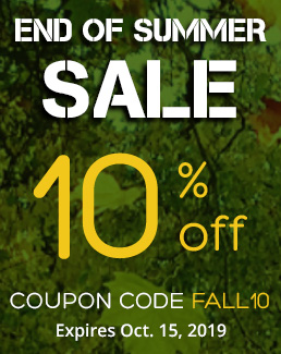 End of Summer - 10% off Storewide - Use coupon code FALL10 - Sale ends October 15, 2019