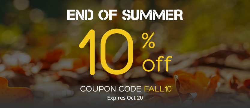 End of Summer10% Off Storewide - Use coupon code FALL10 - Sale ends October 20